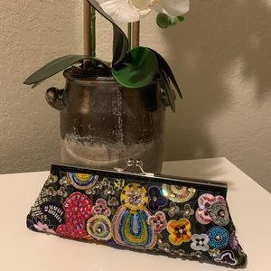 Hand Made Clutch With Beaded Handle
